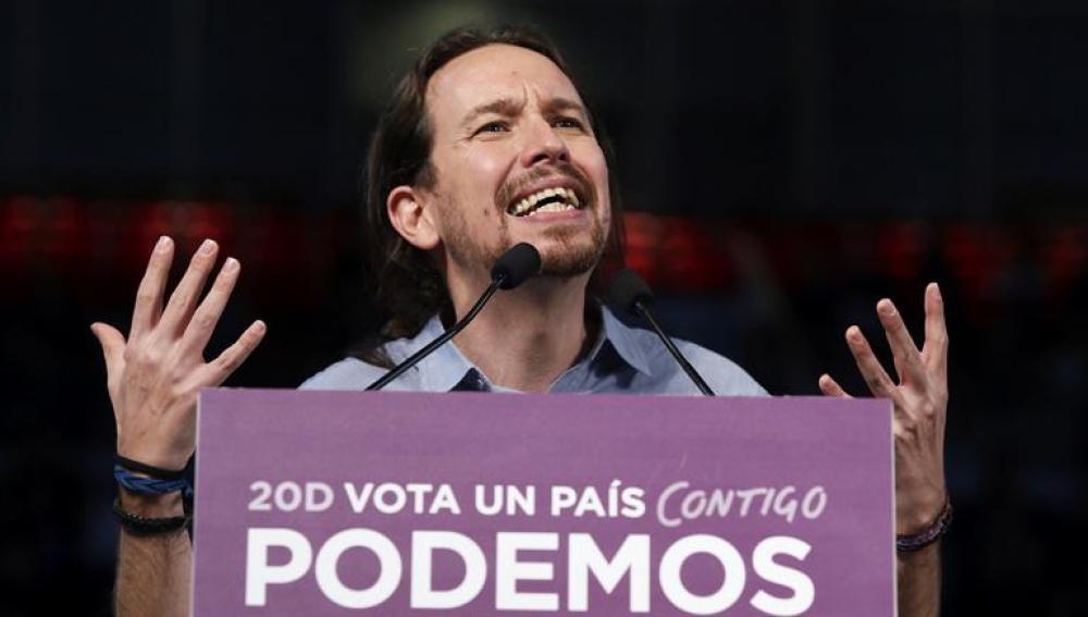 Pablo Iglesias en un acto de campaña electoral en Madrid