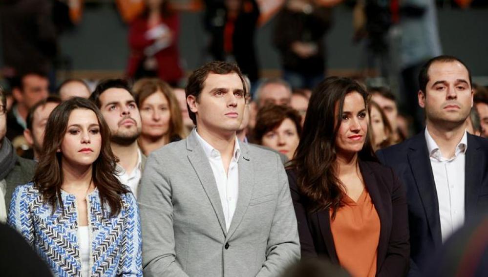 Inés Arrimadas, Albert Rivera, Begoña Villacís e Ignacio Aguado en el mitín de Ciudadanos celebrado en el Palacio de Vistalegre
