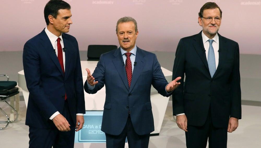 Pedro Sánchez, Campo Vidal y Mariano Rajoy