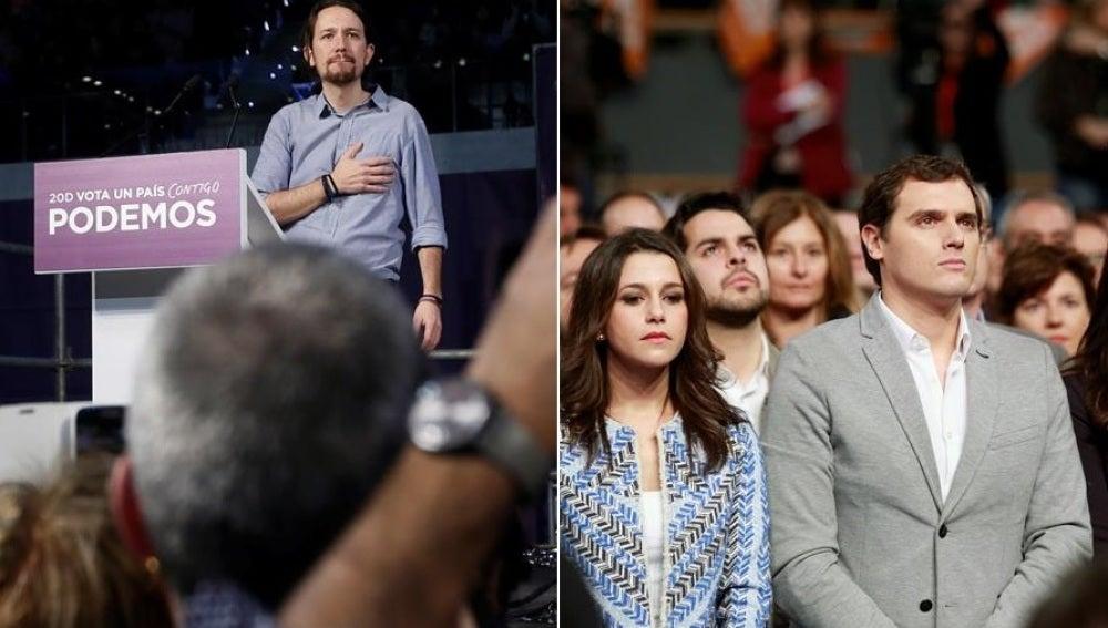 Pablo Iglesias, Podemos , y Albert Rivera, Ciudadanos