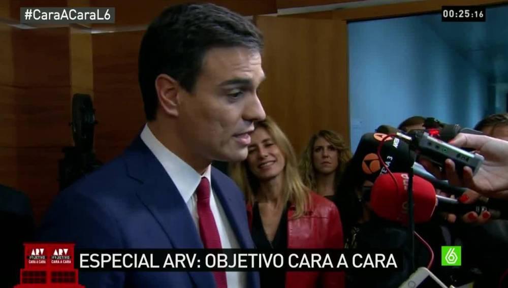 Pedro Sánchez sale del cara a cara