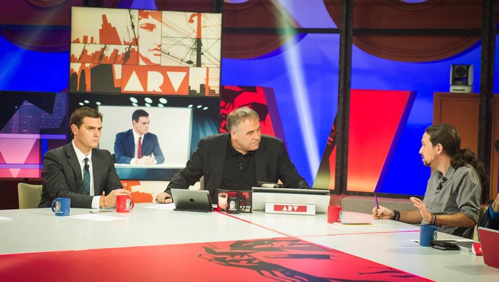 Albert Rivera y Pablo Iglesias en el especial del Cara a Cara