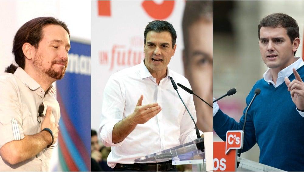 Los candidatos al Gobierno de Podemos, PSOE y Ciudadanos