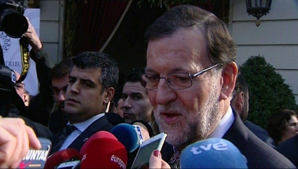 Mariano Rajoy, a su llegada a un hotel en Barcelona