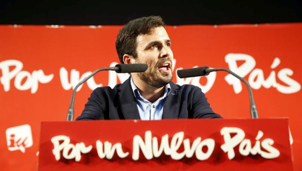Alberto Garzón, en el mitin de cierre de campaña