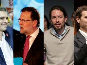 Los candidatos del PSOE, PP, Podemos, Ciudadanos