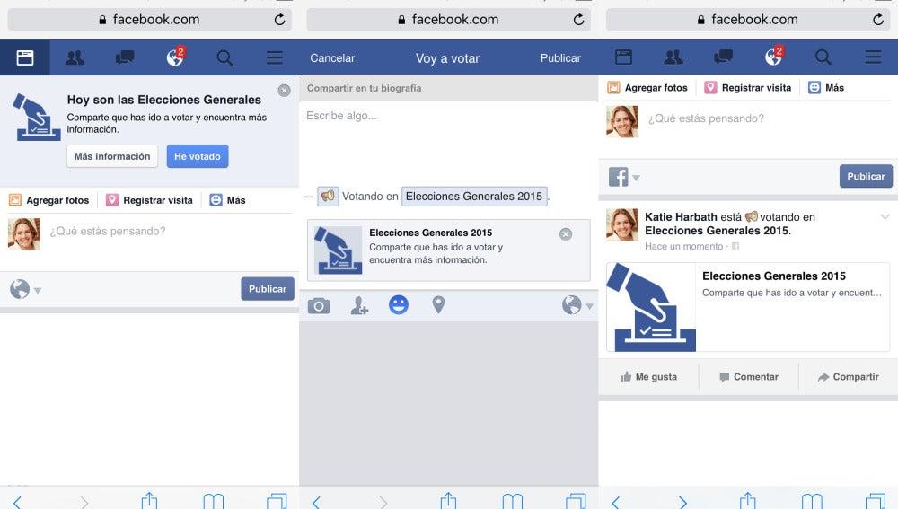Botón 'he votado' de Facebook para las elecciones generales