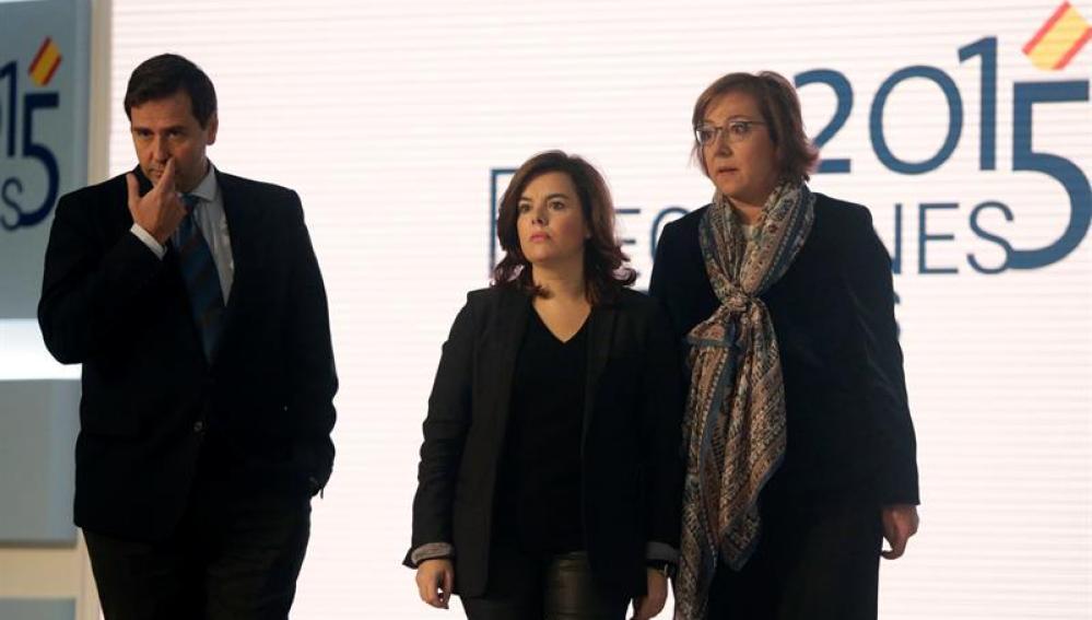 Luis Aguilera, Soraya Sáenz de Santamaría y Carmen Martínez Castro en el Centro de Datos