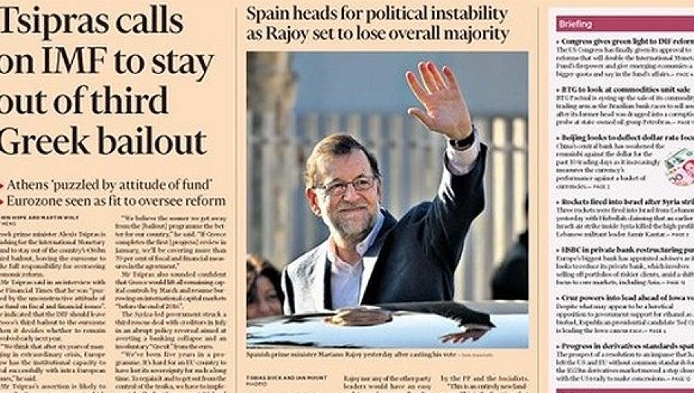 Portada del Financial Times sobre el 20D