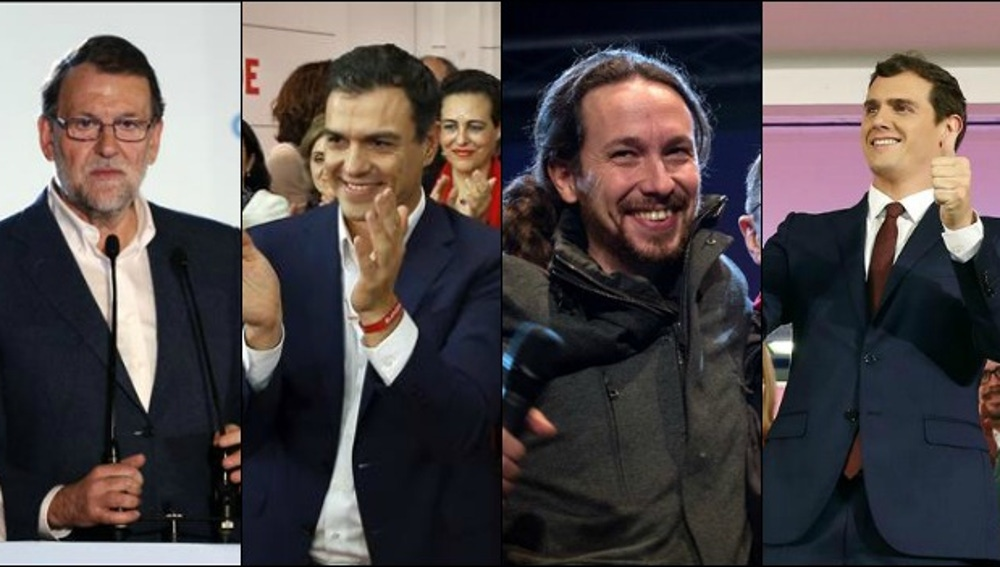 Rajoy, Sánchez, Iglesias y Rivera