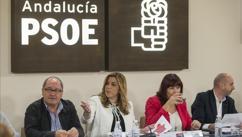 La secretaria general de los socialistas andaluces y presidenta de la Junta, Susana Díaz ayer en la ejecutiva del PSOE-A para analizar los resultados de las elecciones generales