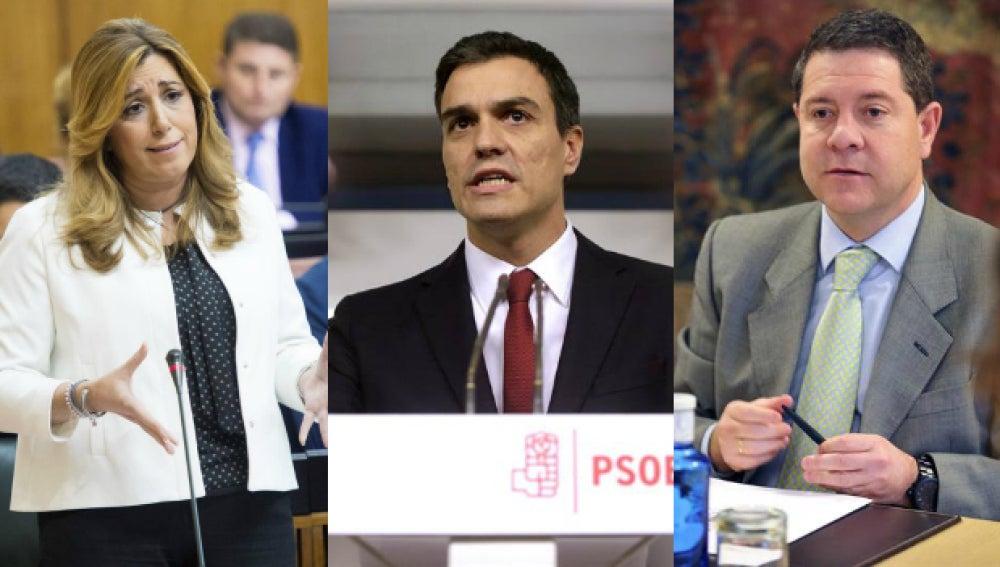 Susana Díaz, Pedro Sánchez y García-Page