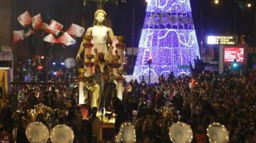 Una de las carrozas de la cabalgata de los Reyes Magos en Madrid.
