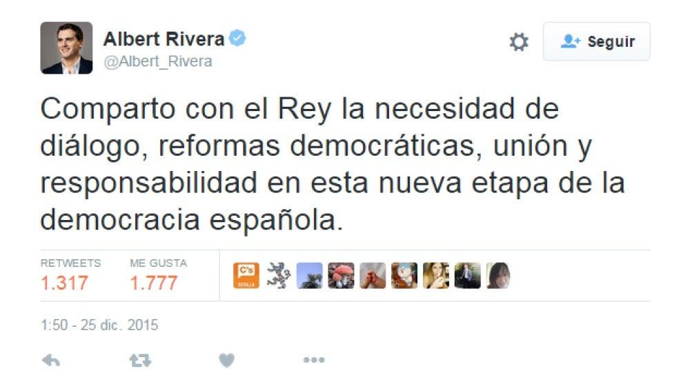 Rivera dice compartir las ideas que el rey Felipe expresó en el discurso de Navidad