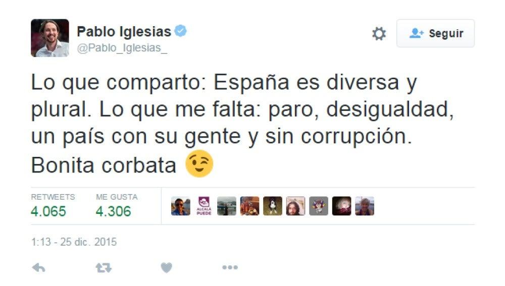 Pablo Iglesias comenta por Twitter el discurso de Navidad del rey Felipe