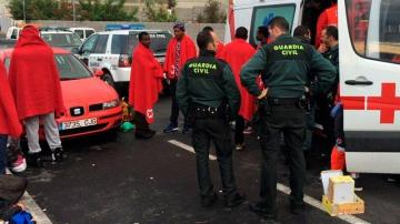 Algunos de los inmigrantes que llegaron a Ceuta