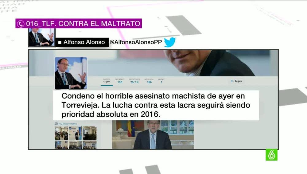"""Alfonso Alonso, sobre la violencia machista: """"Esta lacra seguirá siendo prioridad absoluta en 2016"""""""