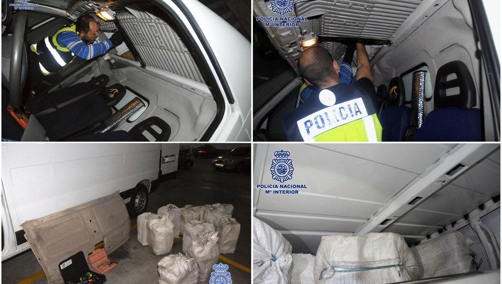 Imágenes sobre la mercancía incautada en una furgoneta de Galicia
