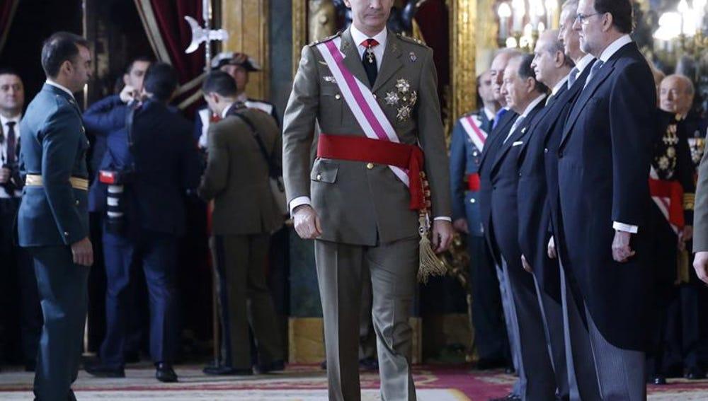 El rey Felipe VI durante la celebración de la Pascua Militar en el Palacio Real