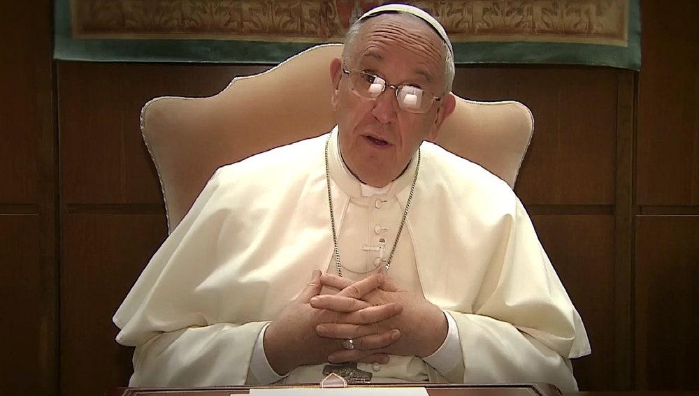 El papa Francisco durante el inédito videomensaje