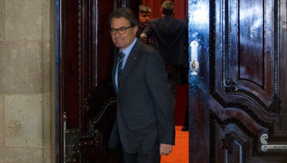El presidente de la Generalitat en funciones, Artur Mas, al finalizar la reunión