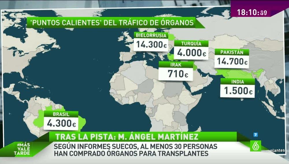 Mapa de los puntos de tráfico de órganos