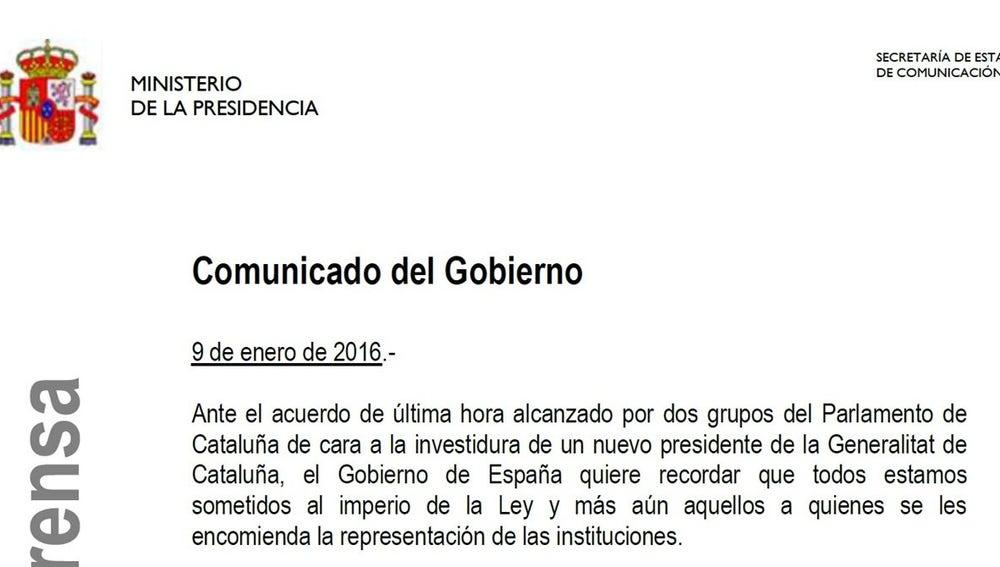 Comunicado del Gobierno frente a la independencia catalana