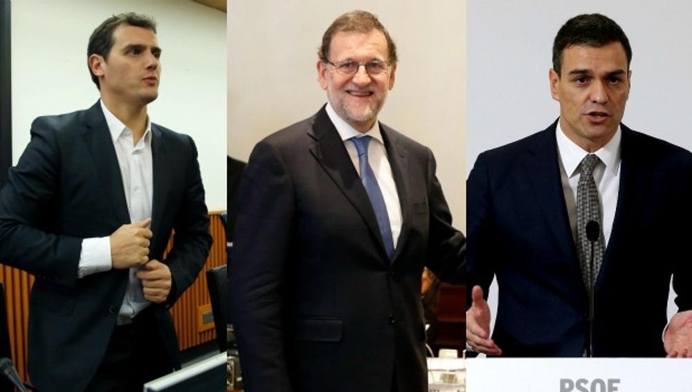 Rivera, Rajoy y Sánchez