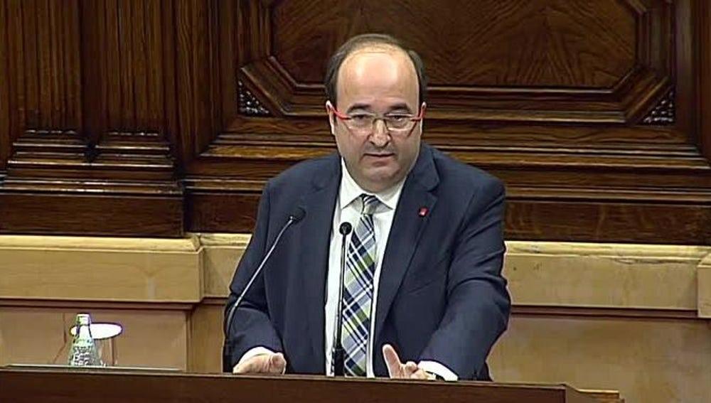 Miquel Iceta durante su intervención en el pleno de investidura
