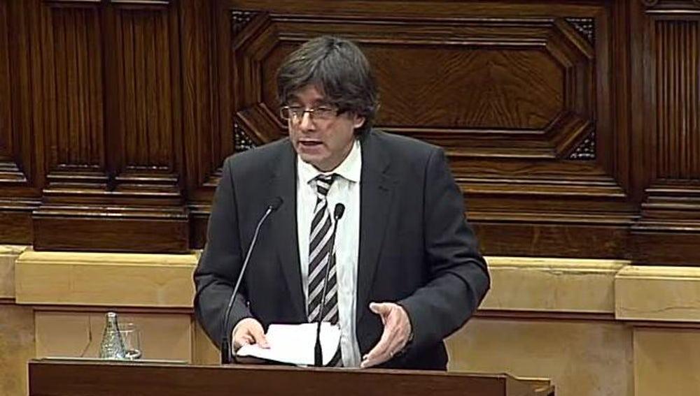 Carles Puigdemont en el pleno de investidura de Cataluña