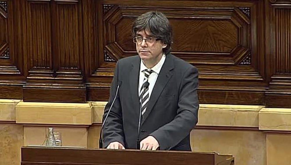 Carles Puigdemont comparece en el pleno de investidura