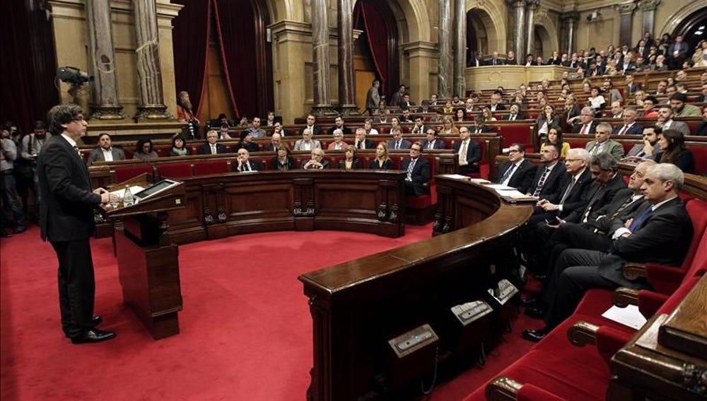 Carles Puigdemont durante el pleno de investidura