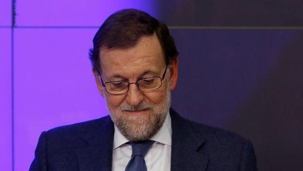 Mariano Rajoy en su sede de Génova