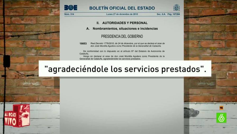 Boletín Oficial del Estado, sobre Artur Mas