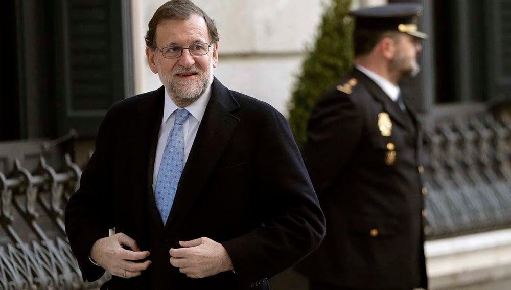 Mariano Rajoy a su llegada al Congreso de los Diputados