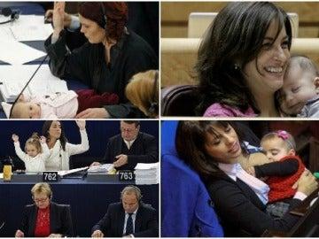 Varias madres con sus hijos en el Parlamento