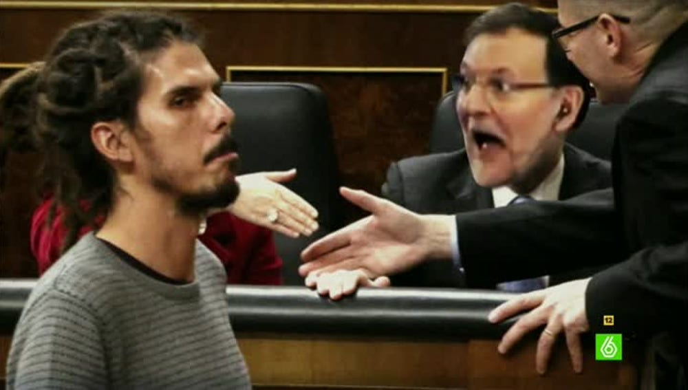 Así sería la foto de portada con Rajoy sorprendido con las rastas del diputado de Podemos