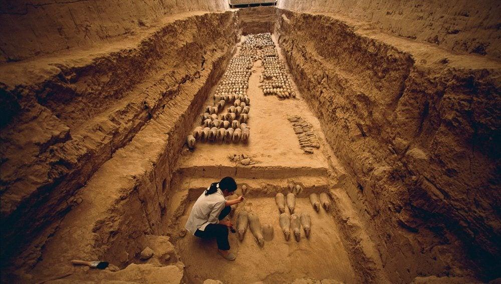 El ejército en miniatura encontrado en las excavaciones del mausoleo del emperador Jing
