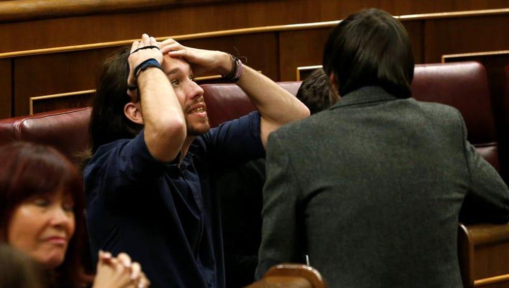 El líder de Podemos, Pablo Iglesias, durante la sesión constitutiva del Congreso
