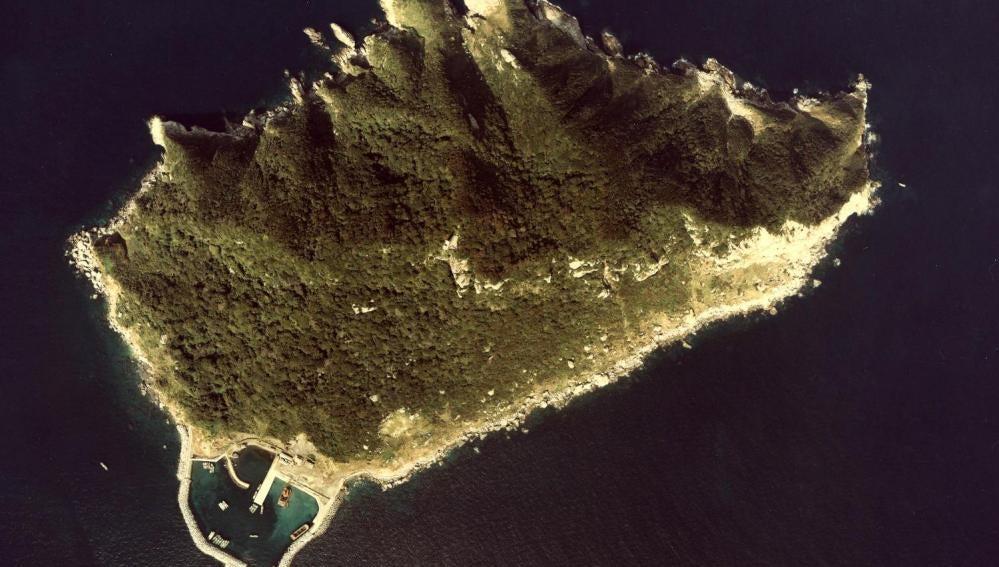 Vista aérea de la isla Okinoshima