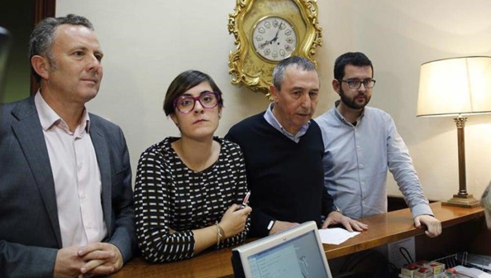 Enric Bataller, Marta Sorlï, Joan Baldoví, e Ignasi Candela, diputados de Compromís