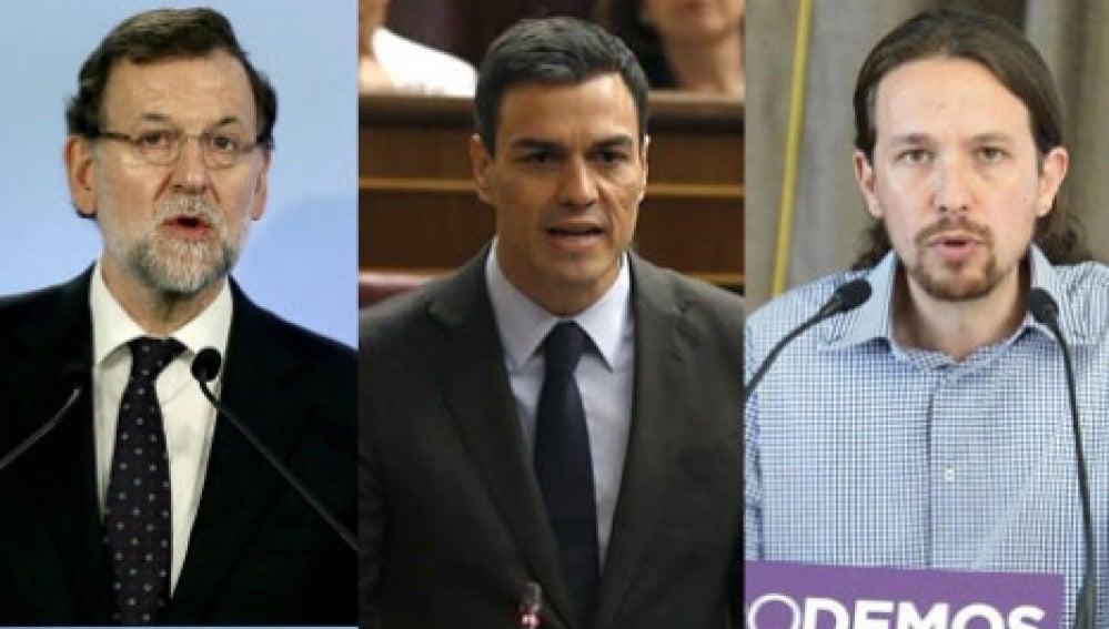 Mariano Rajoy, Pedro sánchez y Pablo Iglesias