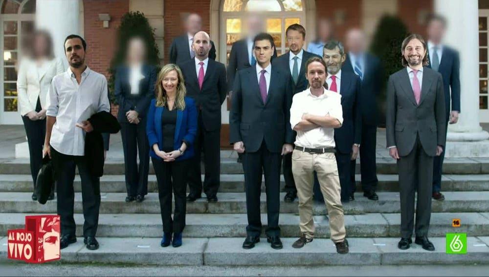 Hipotética foto de Gobierno con un pacto entre PSOE y Podemos