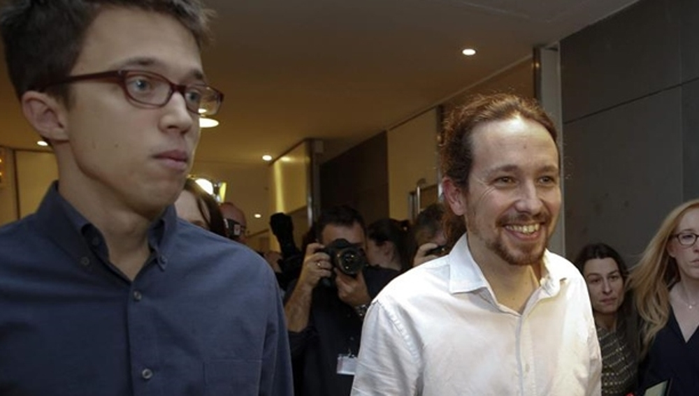Errejón e Iglesias antes de una rueda de prensa