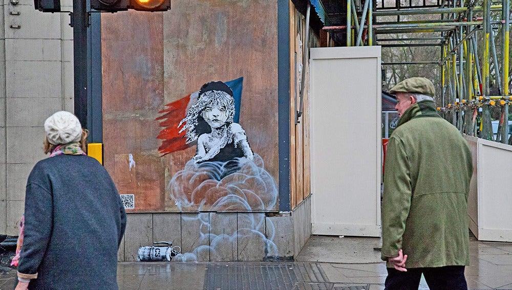 Imagen del nuevo grafiti de Bansky
