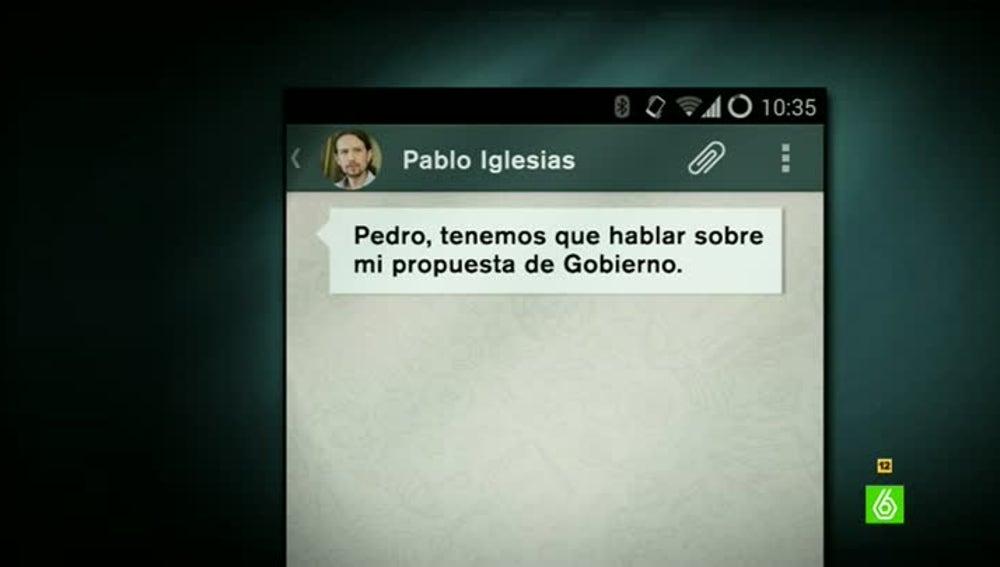 WhatsApp de Pablo Iglesias a Pedro Sánchez