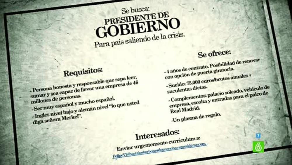 Los requisitos para ser presidente de Gobierno de un país saliendo de la crisis