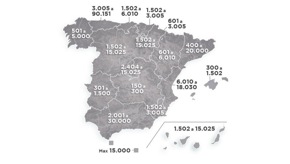 Mapa de las sanciones por abandono animal en España
