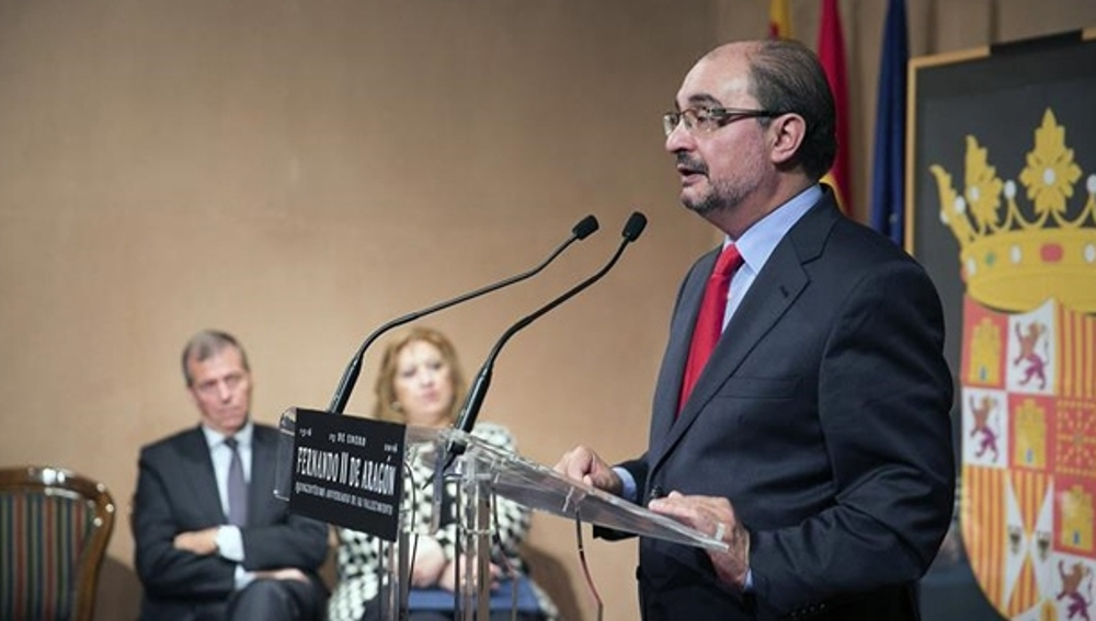 Javier Lambán en un acto público