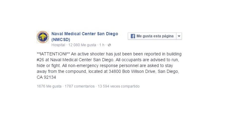 Alerta del hospital Naval de San Diego